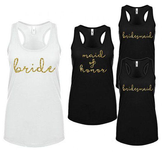 Bridal Party Tank Top Set  Glitter Bridal Party Shirts
