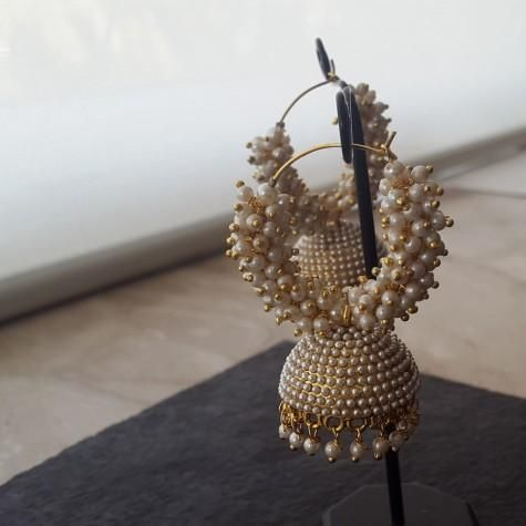 pearl jhumka in pearl hoop -www.cooliyo.com