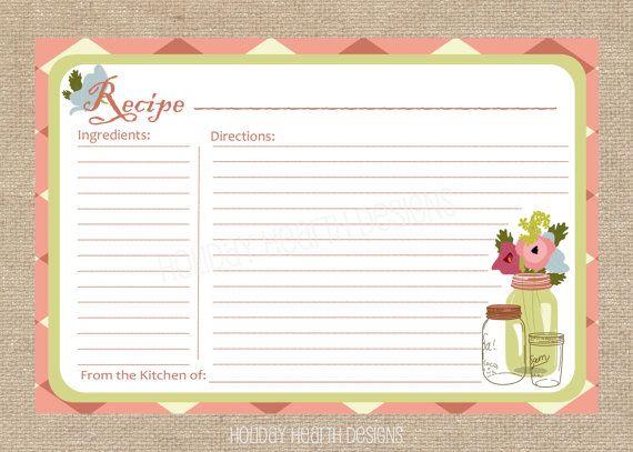 recipe card printable recipe card diy recipe card instant download