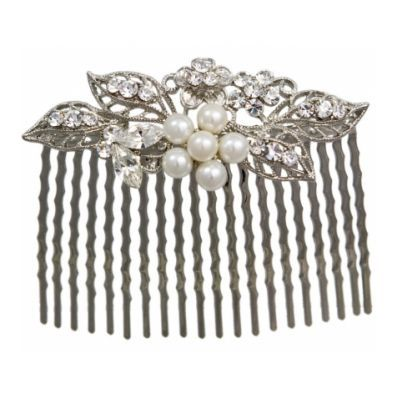 Crystal and Pearl Hair Comb - Pearls of Purity - Glitzy Secrets