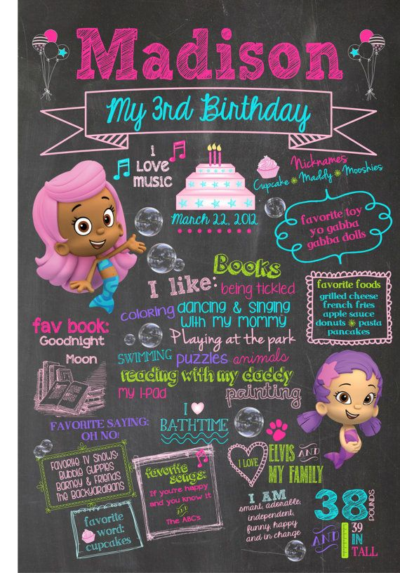 "Chalkboard Bubble Guppies 24"" x 36"" Birthday Poster- Customizable"