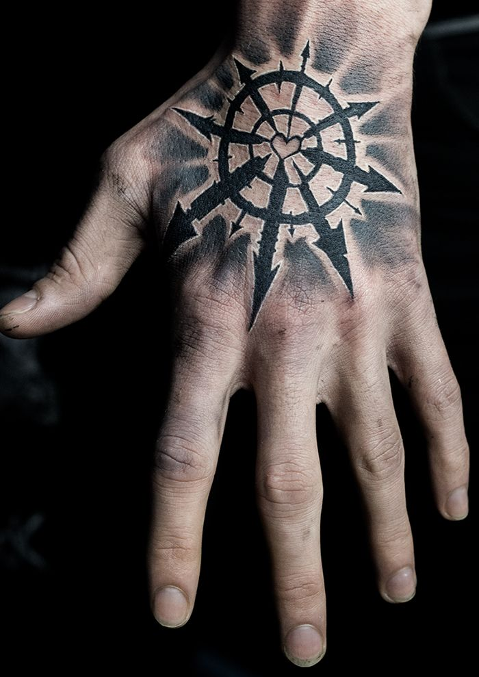 Chaos Star Hand Tattoo   by Mehdi Rasouli
