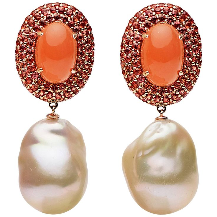 Orange Moonstone Orange Blue Sapphire Freshwater Pearl Gold Earrings by Prince Diamond
