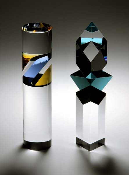Vlastislav Janacek 'Circular Pillar, Ice Blue & Amber King three, Aqua & Black' Feb, 2012 Optic Glass, Cut & Polished Clear square bases included