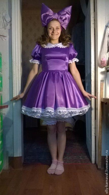 Купить Костюм куклы - фиолетовый, кукла, костюм для аниматора, костюм куклы, карнавальный костюм, атлас
