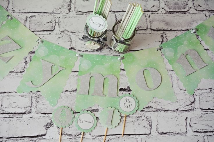 Dekoracje urodzinowe, urodziny dziecka #dekoracje #dziecko #urodziny #pokój #pokójdziecka #rękodzieło #birthday #party #kidsparty #kids #partyideas #craft #handmade #banner #toppers #paper #paperstraws #mint #grey