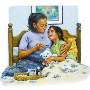 Maminka drží svoji nemocnou dceru a dává jí lék
