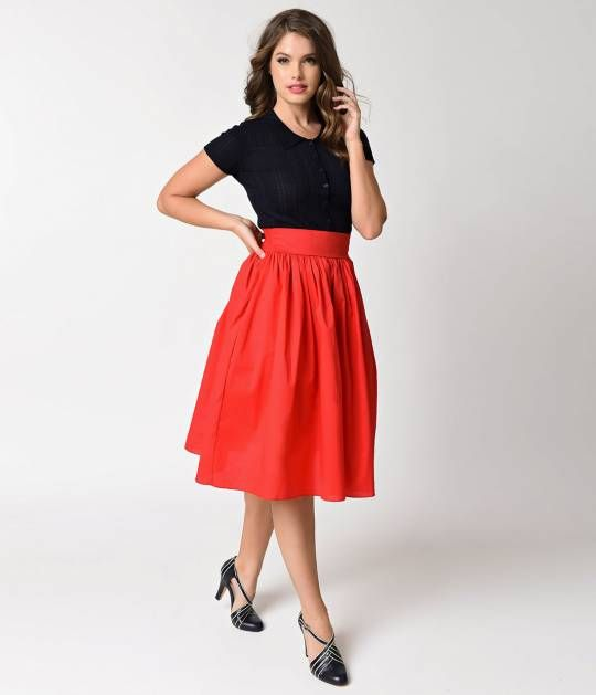 Swing your way into summer in this hot, red, classic swing skirt! Vintage inspired at every inch, this cherry bomb, solid red dskirt is crafted in a resilient cotton with a dash of stretch. The high waist silhouette and radiant style boast a comfortable p