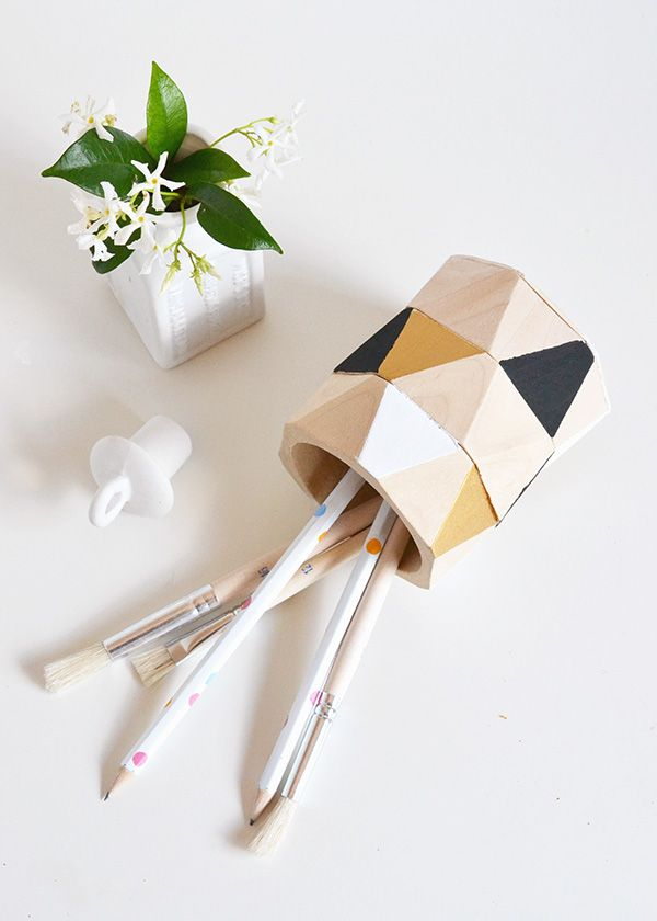 DIY faceted pencil cup | Make and Tell