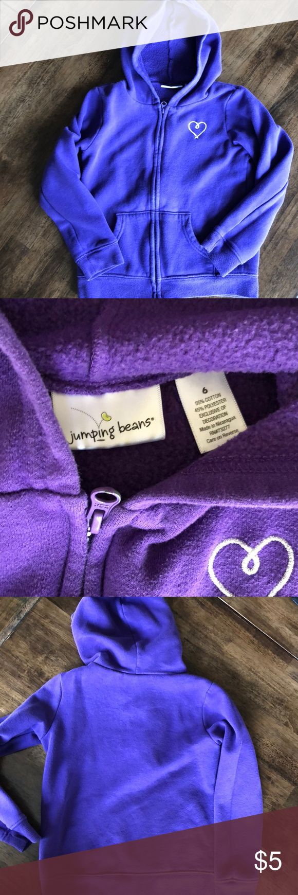 Purple zip up hooded sweatshirt Basic purple zip up sweatshirt, worn but great condition. Close up picture is a better indicator of the purple color. Jumping Beans Shirts & Tops Sweatshirts & Hoodies