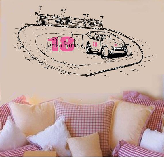 Modified Racecar  DIRT TRaCK  Vinyl Wall Decal Racing by wallstory