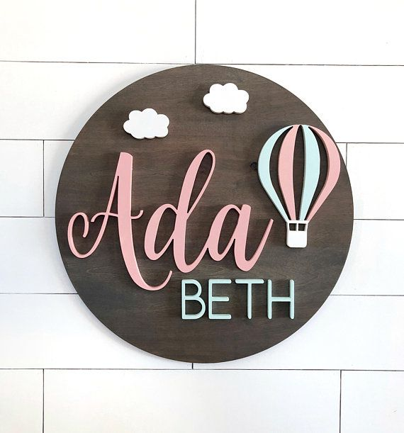 door room sign baby name colours Personalised wooden laser cut name wall sign