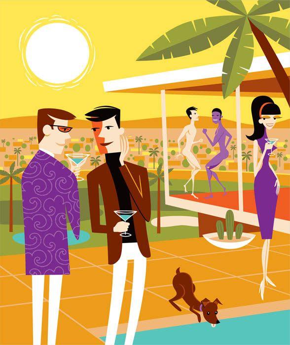 "Palm Springs - Shag's ""The Latest Gossip"" Print"