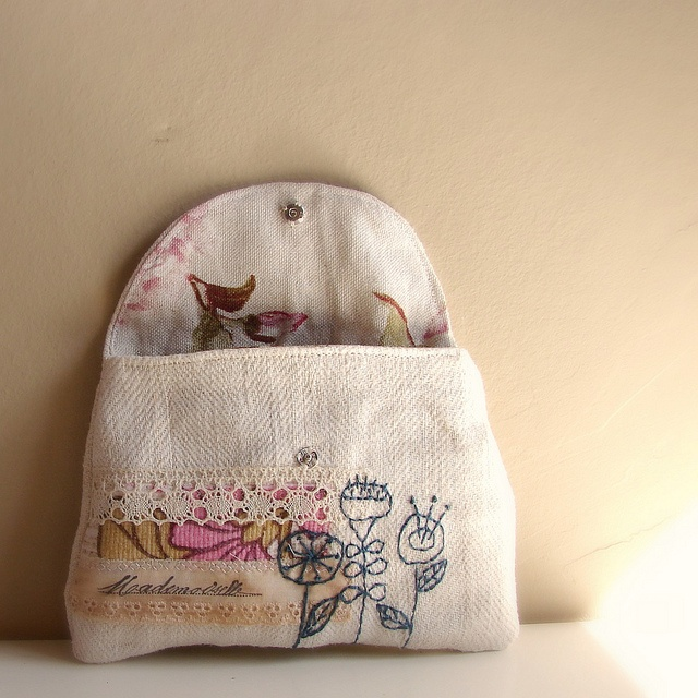 Pouch antique linen blue floral embroidery2 by Roxy Creations, via Flickr