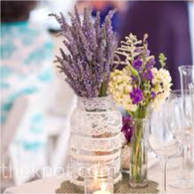 Lavender in a ball jar decorated with lace <3