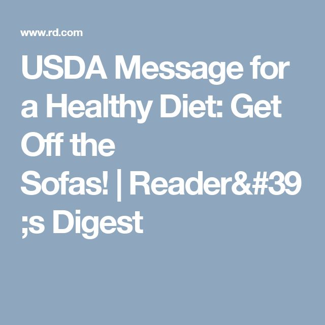 USDA Message for a Healthy Diet: Get Off the Sofas! | Reader's Digest
