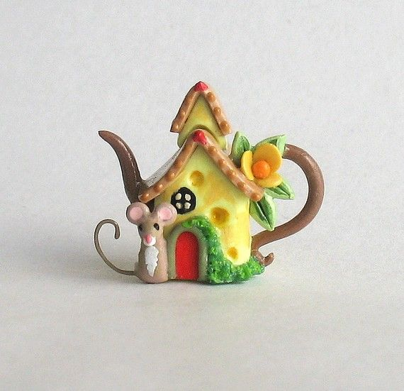 Miniature Wee Mouse Cheese House Teapot OOAK by ArtisticSpirit