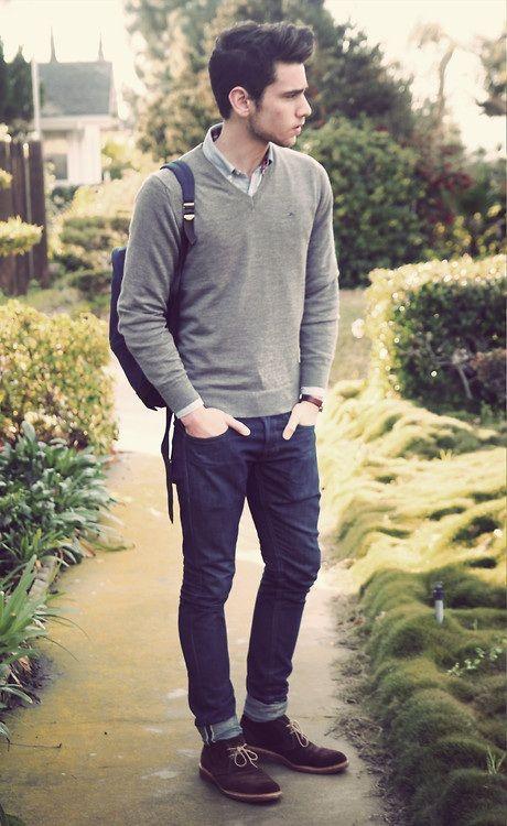 Most basic outfit ever! Könnte durch eine prominente Uhr oder ein Hemd mit Muster aufgelockert werden. #basic #men #fashion