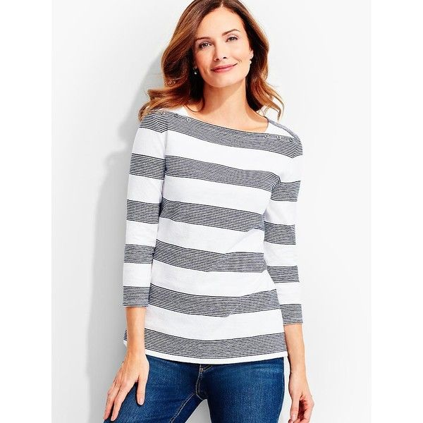 Talbots Women's Button Envelope Shoulder Stripe Tee ($50) ❤ liked on Polyvore featuring tops, t-shirts, white tee, cotton tee, petite tee, striped boatneck tee and striped tee