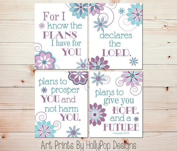 Nursery Art Prints-Jeremiah 29:11-Purple Teal Decor-Girls Bedroom Decor-Inspirational Nursery Quote-Baby Girls Room-Girl Nursery Decor-#0648...