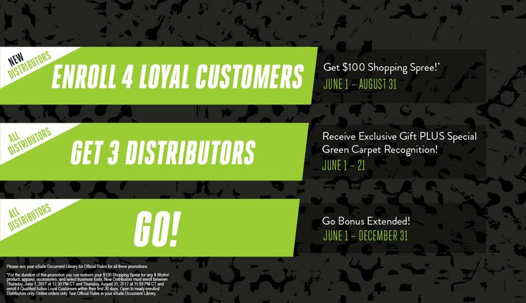 Now is the time to start something new! Sign 4 customers as a new distributor this summer & earn a $100.00 It Works shopping spree. Msg me for details!  www.healthynewlife.myitworks.com
