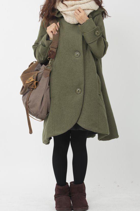 Army Green cloak wool coat Hooded Cape women Winter wool by MaLieb
