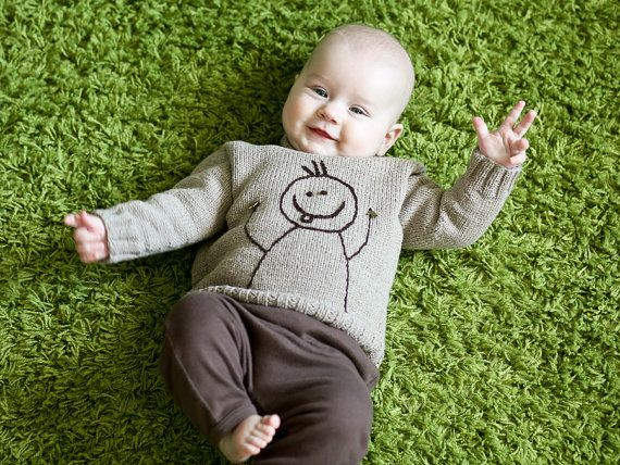 Hand knitted baby boy sweater with embroidered smile on Etsy, $34.00