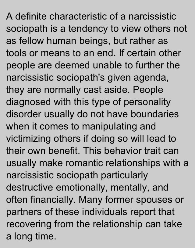 Narcissist Sociopath - sound like anyone you know? The last part refers to personal relationships, but imagine how long it takes a whole country to recover.