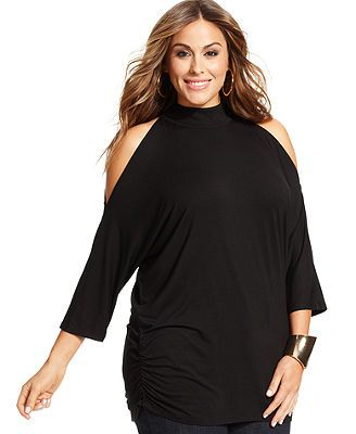 INC International Concepts Plus Size Three-Quarter-Sleeve Cutout Top