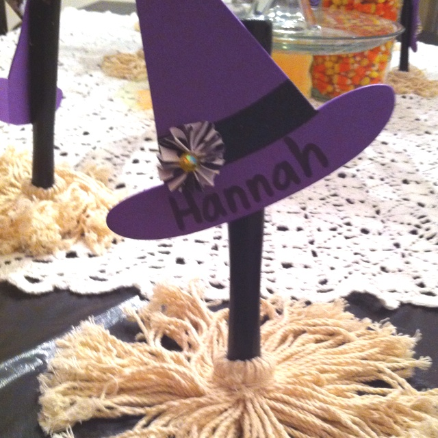 Good Witch Tea Party Place Setting * broom is a food baster from Dollar Tree *