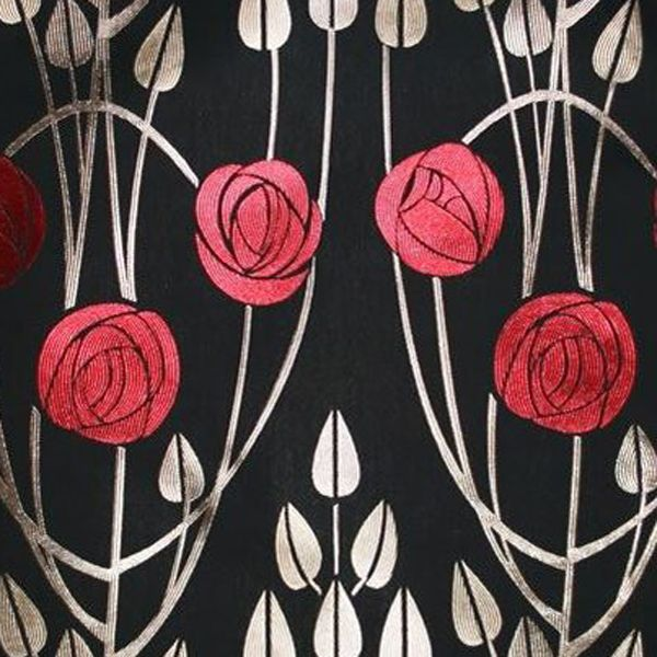 Art Deco Art Nouveau Black Flat-Weave Curtain and Upholstery Fabric | Art Nouveau Arched Roses Cuillin Black from Loome Fabrics
