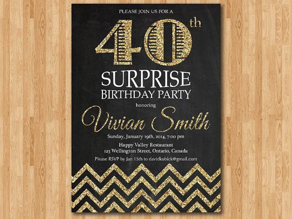 40th birthday invitation for women. Adult Surprise door arthomer, $10.00