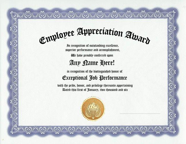 employee appreciation award certificate