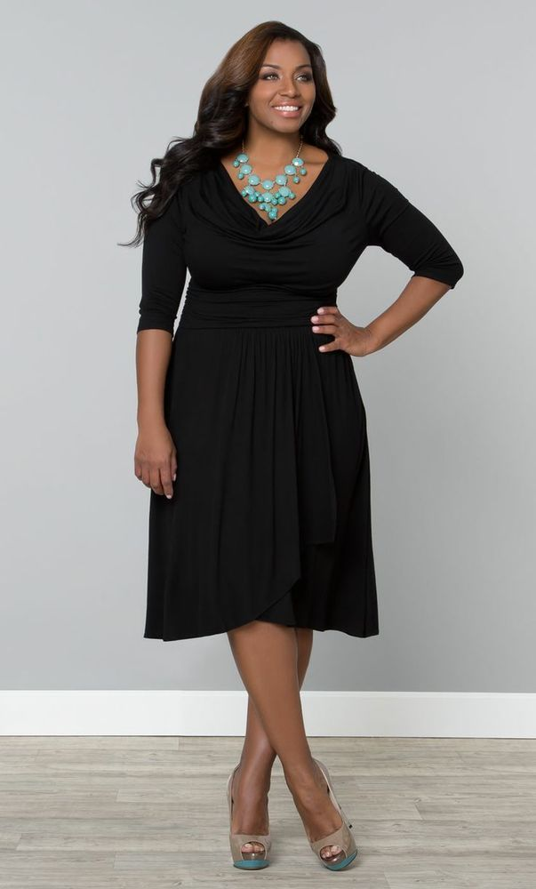 Here in NYC we can never can get enough basic black dresses in our wardrobe! This Plus Size black cocktail dress is a perfect fashion choice!