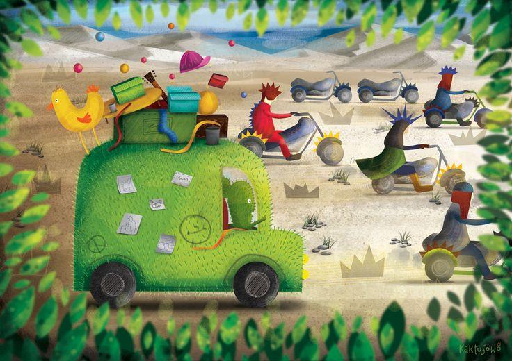 Kolejna ilustracja i początki wyprawy Kaktusa wraz z przyjacielem.