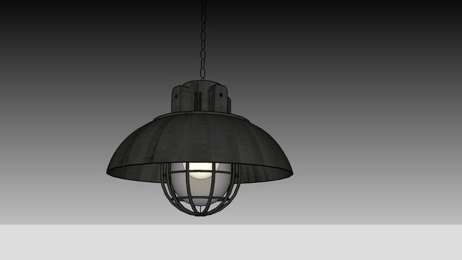 Large preview of 3D Model of RH - EUROPEAN FACTORY CAGED PENDANT - WEATHERED ZINC