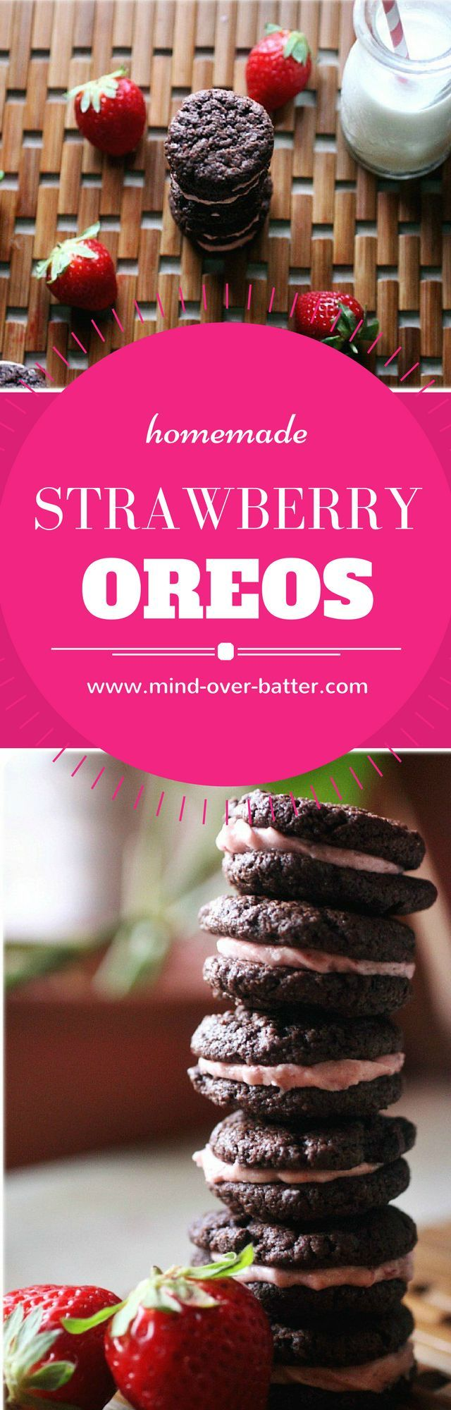 Homemade Oreo Cookies filled with a tart strawberry filling! http://WWW.MIND-OVER-BATTER.COM