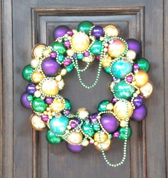 Mardi Gras Decadence a Vintage Ornament Wreath