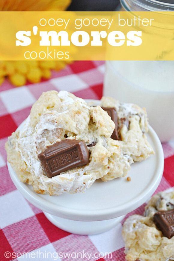 Ooey Gooey Butter S'mores Cookies | www.somethingswanky.com