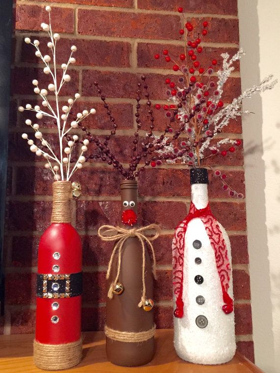 This is for ONE vase: Santa, Rudolph, or Snowman wine bottle vases with decorative picks. Please specify which one you want in the order notes. If you want all 3 as a set they are $30 ($10/ea) plus shipping.