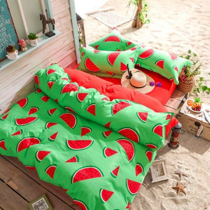 Kawaii watermelon students printed bed sheet 4 pieces.