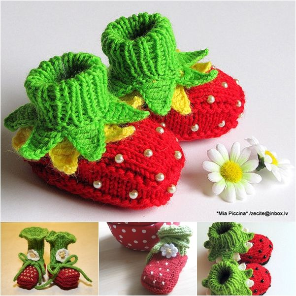 The Perfect DIY Knitted Strawberry Baby Booties