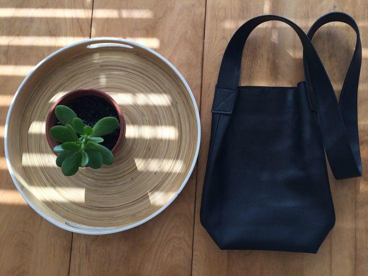 Chef, Italian black leather handbag, 1.2m strap/cross shoulder with inside pocket.