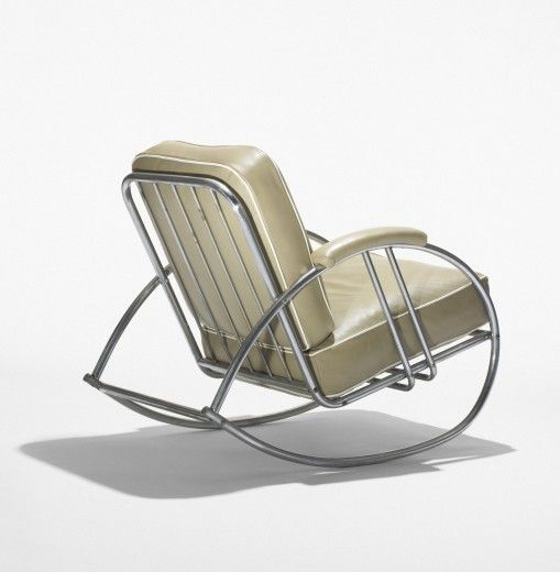 WOLFGANG HOFFMANN    rocking chair    Howell  Germany/USA, c. 1934  chrome-plated steel, leather  27 w x 41 d x 33 h inches