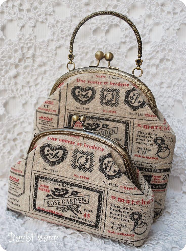 Linen frame purse and bag