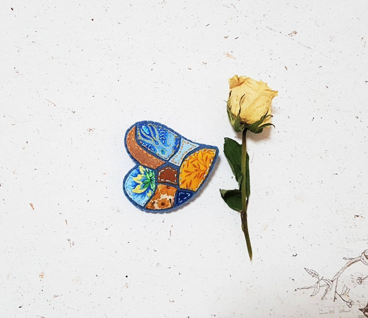 Excited to share the latest addition to my #etsy shop: Blue Yellow Brooch. Mosaic Textile Heart. Fabric Felt Fibre. Mustard Cold Corn Blue Pin. Floral Fabric. Patchwork Style. http://etsy.me/2iZ0auN