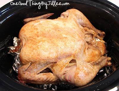 Make your own rotisserie chicken in the crock pot.
