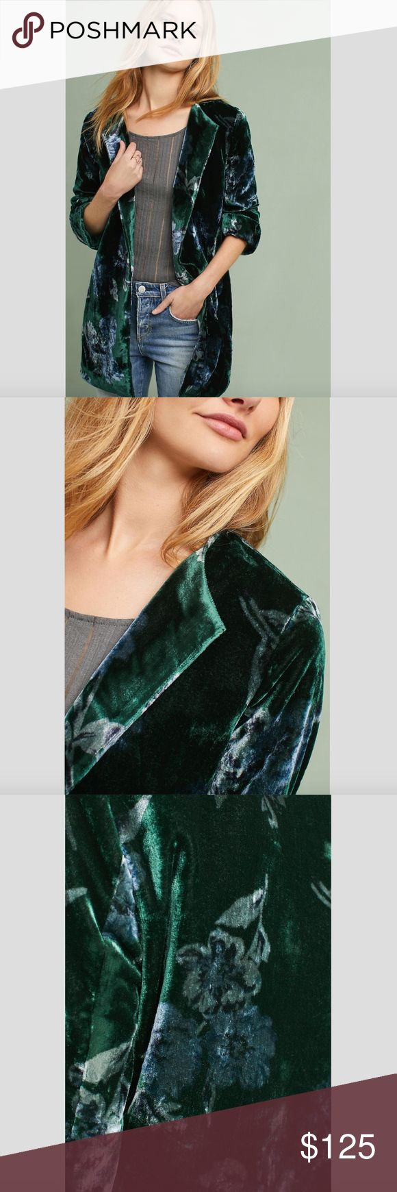 """Anthropologie Floral Velvet Car Coat Adorned with demure florals, this velvet car coat is a luxe-chic layer for the new season.  By Eva Franco Viscose, polyester; polyester lining Side pockets Open front Dry clean Imported 33""""L COLOR: Holly Anthropologie Jackets & Coats"""