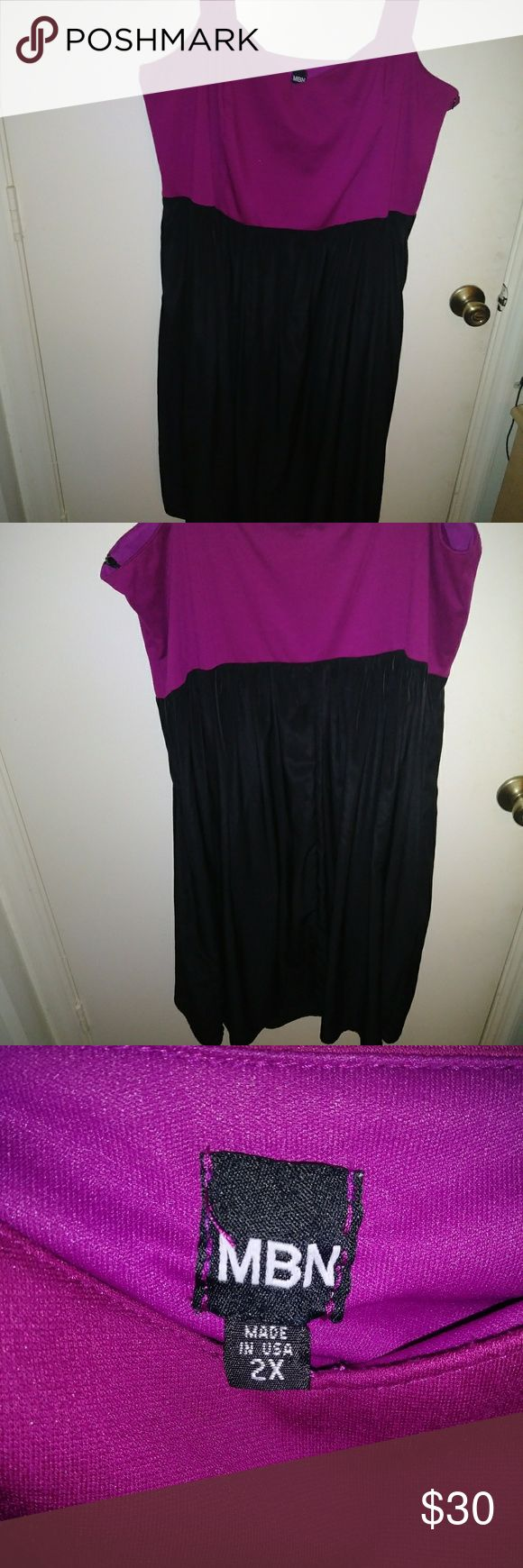 Nice black and purple one piece dress Nice dress that you could dress down for work or bling it out for a night on the town mbn Dresses Midi