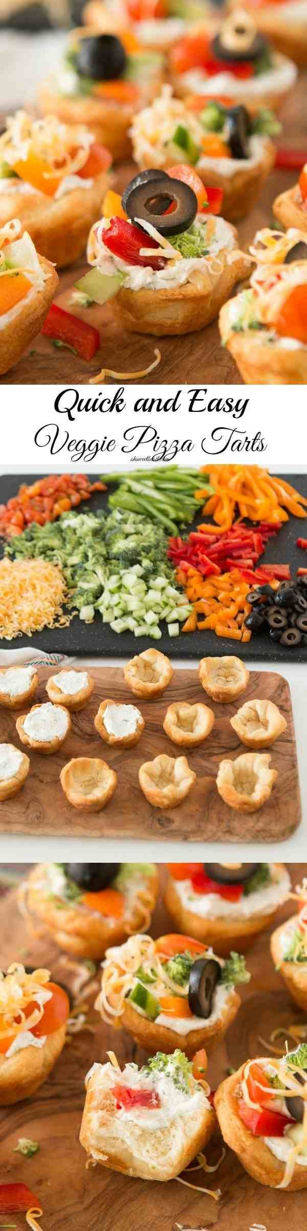 This is the BEST veggie pizza tarts recipe I've found! The filling is so creamy and I can't stop popping them in my mouth! ohsweetbasil.com